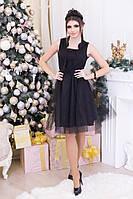 Нарядное трикотажное платье с фатином