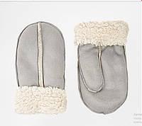 Женские рукавицы, серого цвета, очень теплые и приятные