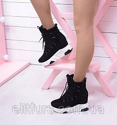 Зимние ботинки  белая  подошва  шнуровка черный иск замш