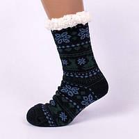 Черные мужские домашние полушерстяные тапочки-носки.