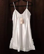 Женская ночная сорочка.Атлас,белое кружево L- 316-043, фото 3