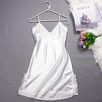 Женская ночная сорочка.Атлас,белое кружево- 316-043