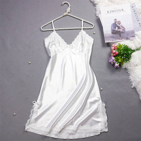 Женская ночная сорочка.Атлас,белое кружево L- 316-043, фото 2