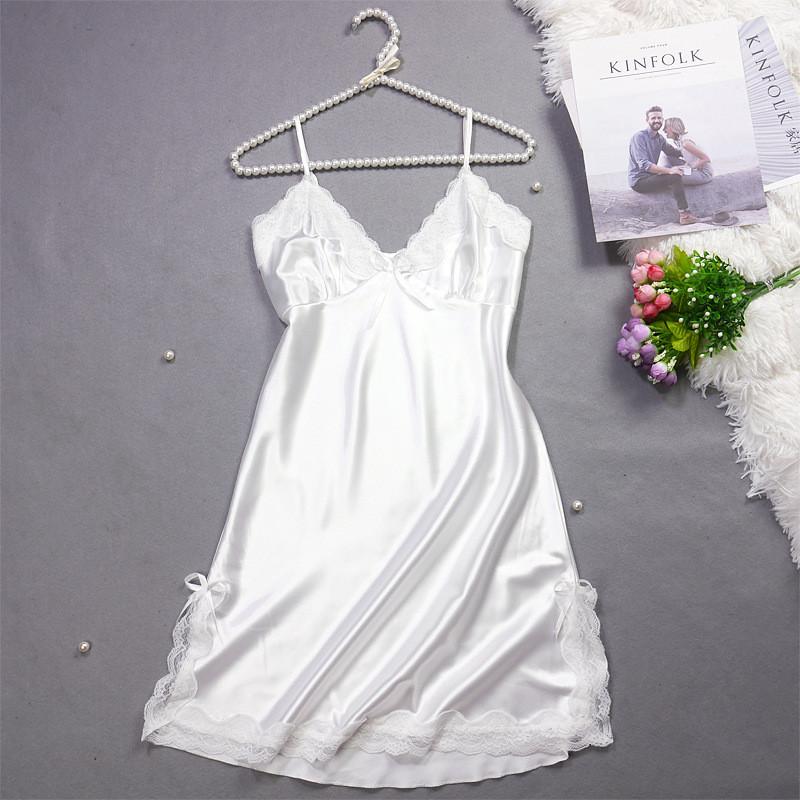 Женская ночная сорочка.Атлас,белое кружево L- 316-043