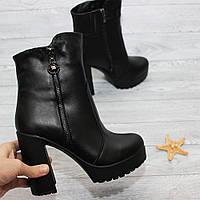 Стильные кожаные ботинки на высоком каблуке