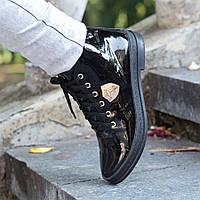 Ботинки лаковые черные на шнуровке 21455
