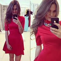 Женский стильное платье с цветным украшением (4 цвета) Красный, С