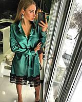 Женское стильное платье-рубашка с кружевом (3 цвета)
