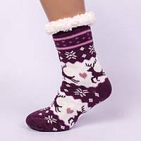 Фиолетовые домашние полушерстяные тапочки-носки с оленями.