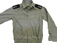 Рубашка форменная серая с длинным рукавом под резинку