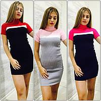 Женское шикарное двухцветное прямое платье (3 цвета)