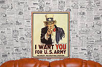 Ретро Постер. Агитационный плакат США. 50х40 см. Постер на холсте.