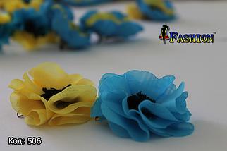 Блакитна заколка-брошка Квітка, фото 2