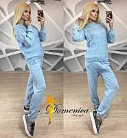 Женский модный вязаный костюм: свитер и брюки  голубой, 42-46