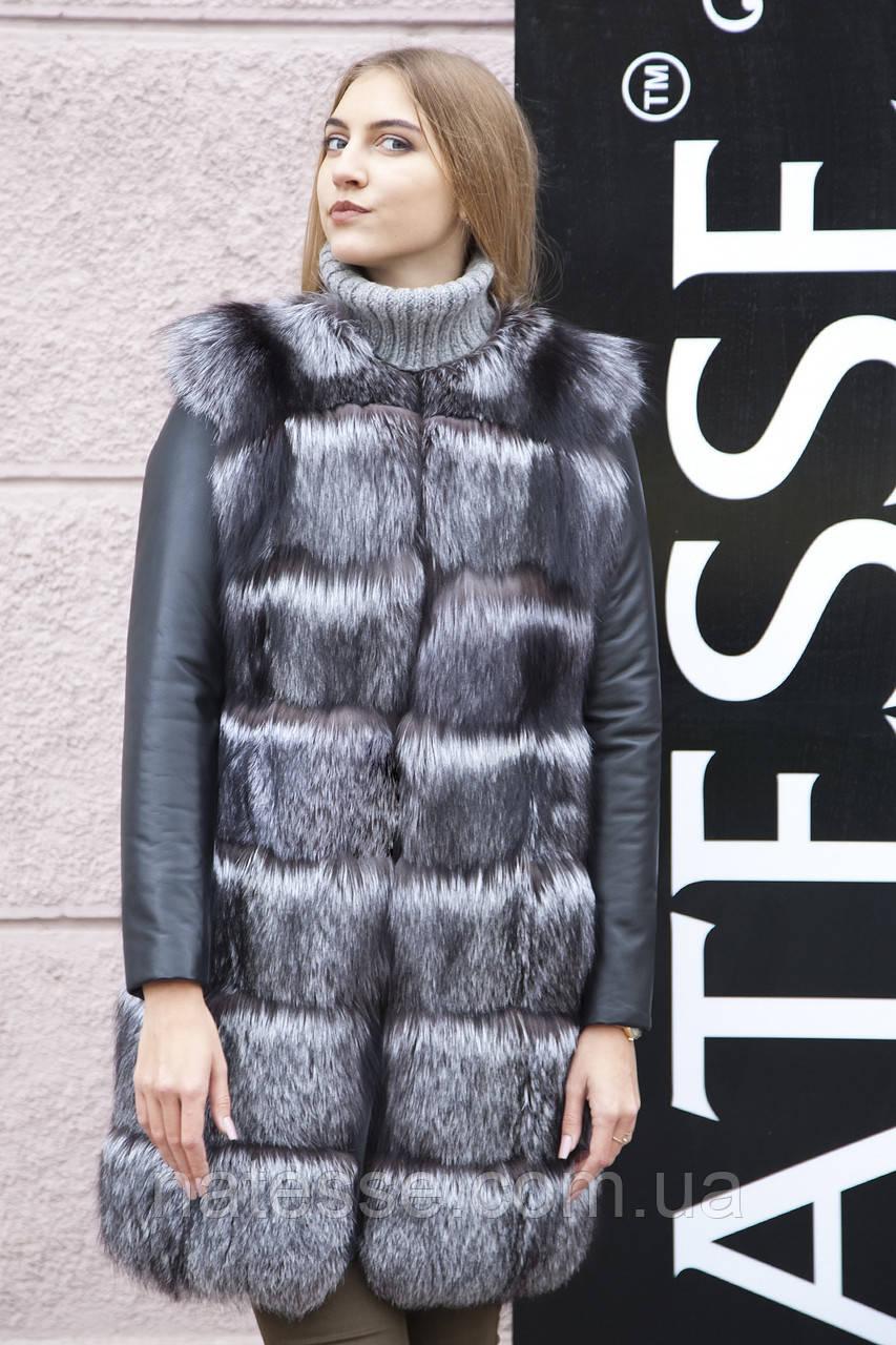 """Шуба хутряне пальто з чорнобурки """"Арабелла"""" silver fox fur coat jacket"""