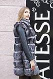 "Шуба хутряне пальто з чорнобурки ""Арабелла"" silver fox fur coat jacket, фото 3"