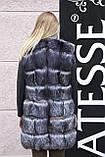 "Шуба хутряне пальто з чорнобурки ""Арабелла"" silver fox fur coat jacket, фото 4"