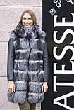"Шуба хутряне пальто з чорнобурки ""Арабелла"" silver fox fur coat jacket, фото 5"