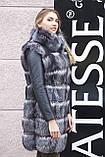 "Шуба хутряне пальто з чорнобурки ""Арабелла"" silver fox fur coat jacket, фото 6"