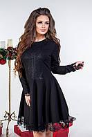 Черное женское коктейльное платье с кружевом