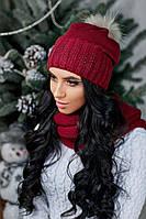 Теплая шапка красивая утепленная флисом
