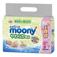 Moony. Влажные салфетки сменная упаковка, 640 шт. (8х80шт.) (181339)