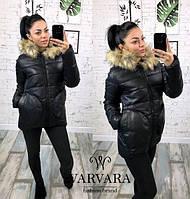 Куртка с капюшоном мод.064 (плащевка на синтепоне 200 + качественная подкладка) мех натуральный (енот)