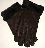 Зимние кожаные перчатки женские