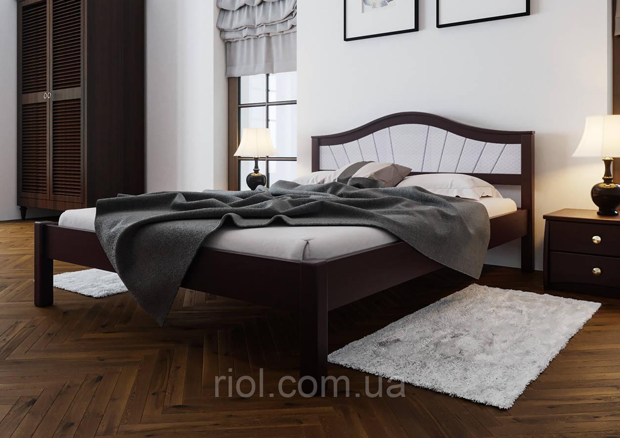Кровать деревянная двуспальная Италия М с мягким изголовьем