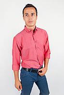 Мужская хлопковая однотонная рубашка. (Бордо). АРТ-208F002.5