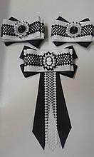 Набір заколок уточок р/р чорно-білі бантики + галстук-брошка (А)