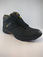 Ecco ботинки спорт из натуральной кожи на меху чёрный чёрный