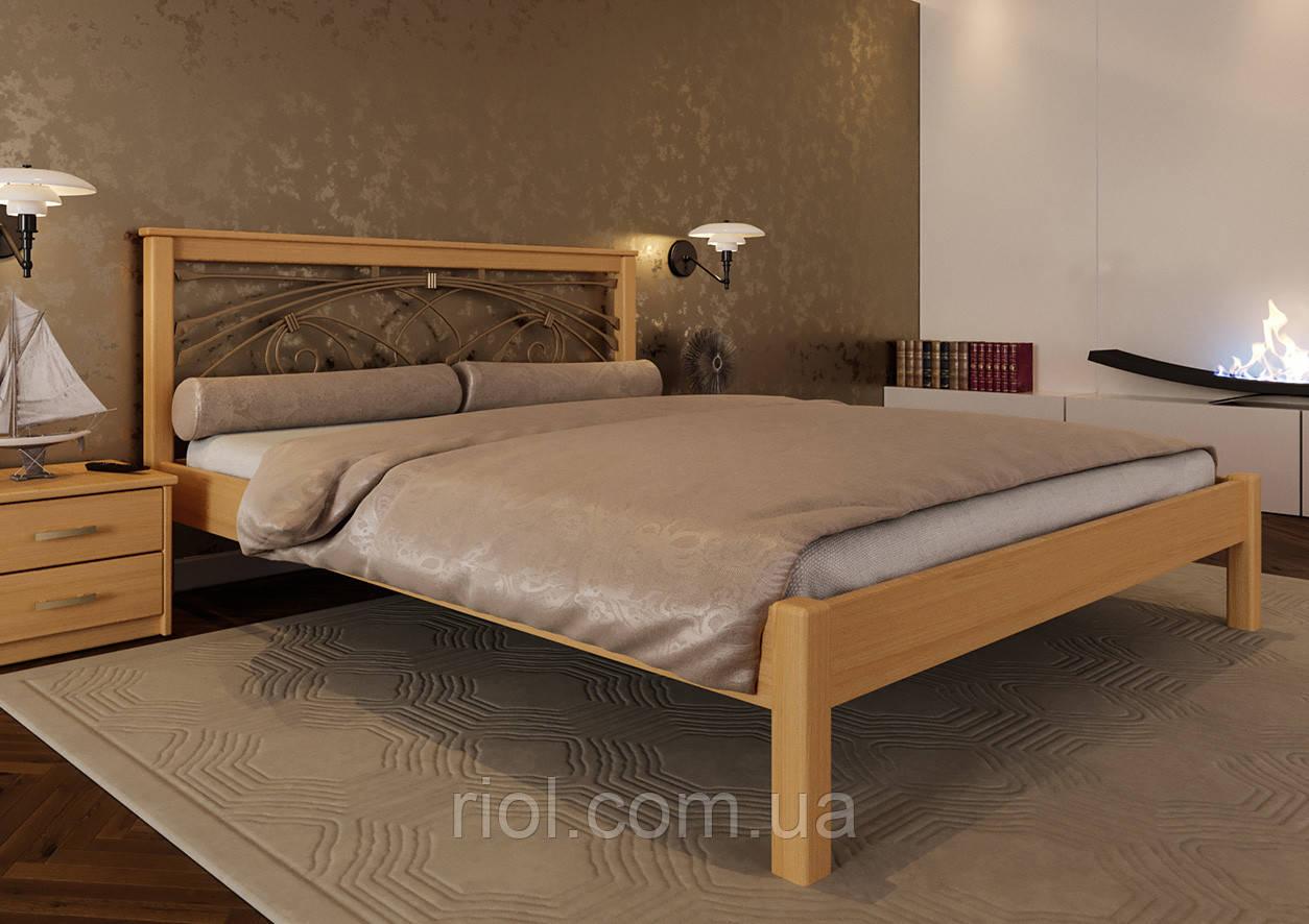 Кровать деревянная двуспальная Модерн с ковкой