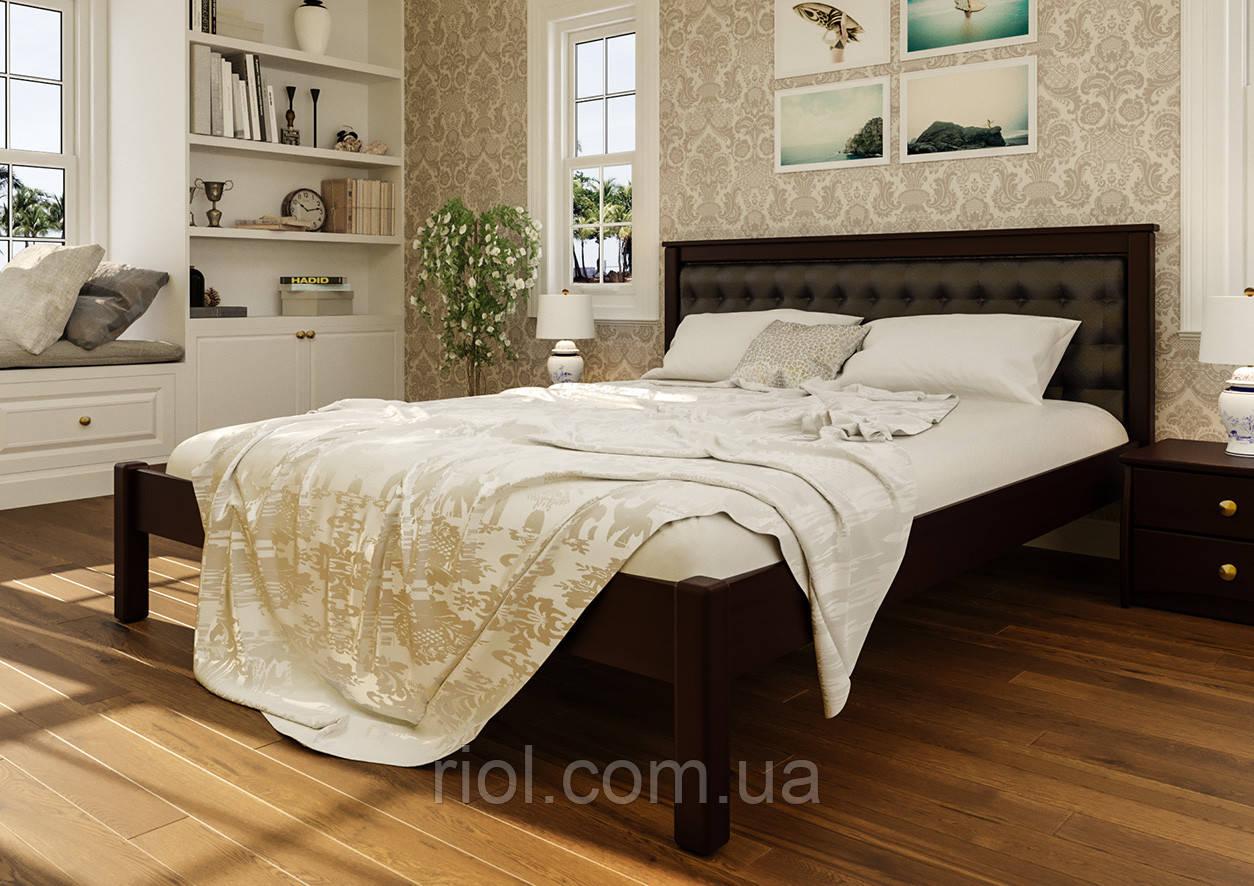 Кровать деревянная двуспальная Модерн М с мягким изголовьем