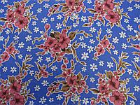 Ткань штапель голубая с цветочным принтом