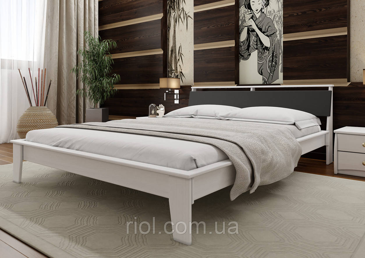 Кровать деревянная двуспальная Венеция М с мягким изголовьем