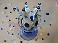 Корона с бусинами из фоамирана Серебро-синий.