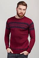 Вязаный мужской свитер с круглым вырезом. Цвет бордовый. АРТ-259F007.5