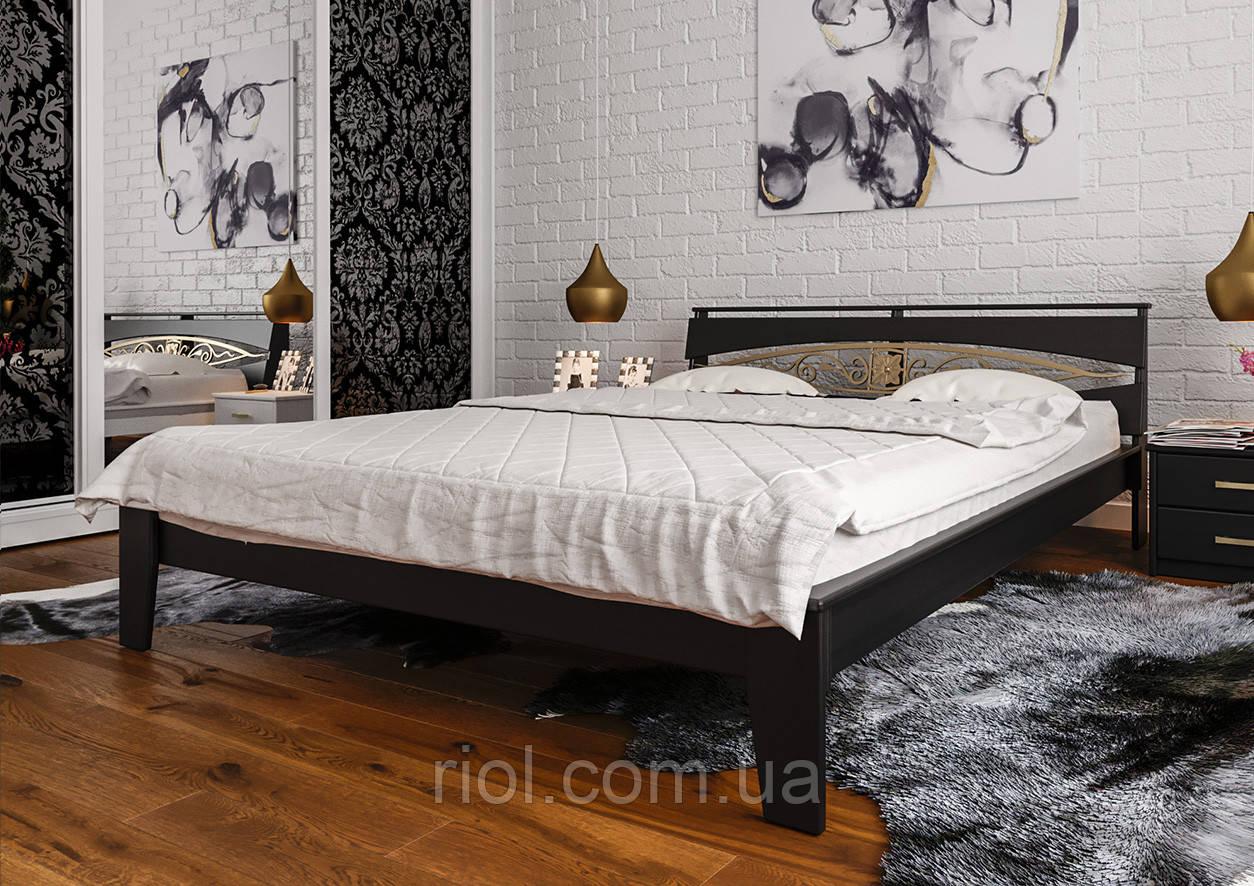 Кровать деревянная двуспальная Венеция с ковкой