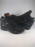 Salomon ботинки мужские реплика высокие из натуральной кожи на меху чёрный