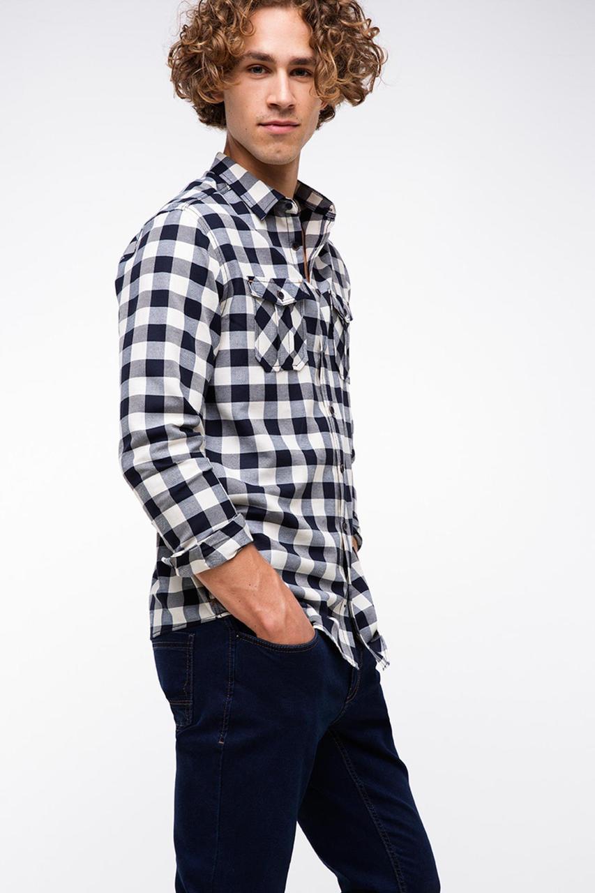 Белая мужская рубашка De Facto/Де Факто в черную полоску