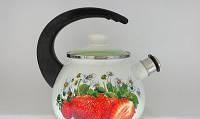 Чайник эмалированный со свистком (2.5 л) Epos Салатная клубника, арт. 2711/3Ч