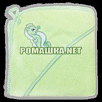 Детское махровое (очень длинная петля) уголок-полотенце после купания 95х95 см ТМ Ярослав 3073 Салатовый 3