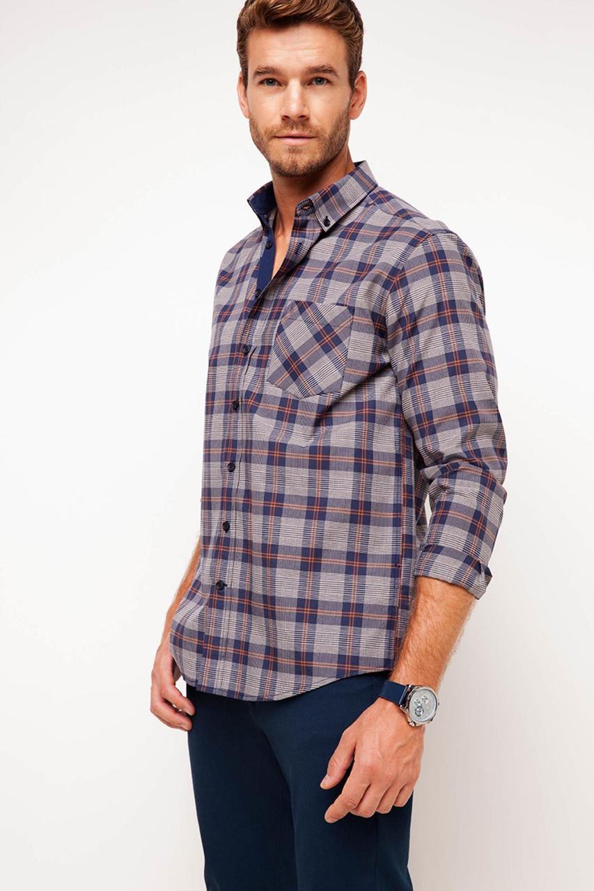 Мужская рубашка De Facto / Де Факто в фиолетовую клетку