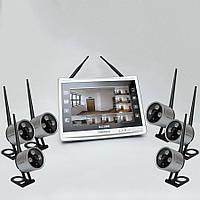 """Комплект беспроводного видеонаблюдения: видеорегистратор с 12"""" монитором и 6 видеокамер KIT-FHD126"""