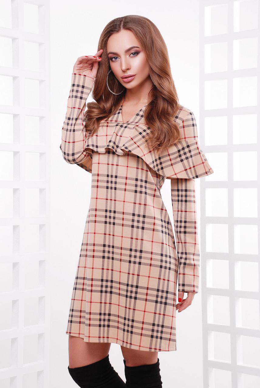 Стильное платье из принтованного французского трикотажа в комплекте пояс