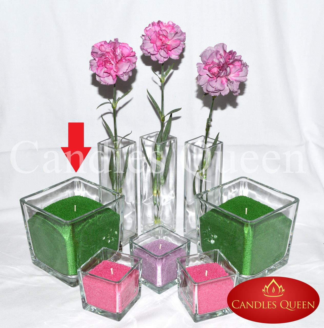 Ваза квадратная (ваза куб) 14х14х14 см подсвечник для насыпной свечи, флористики, декора, салатник, конфетница