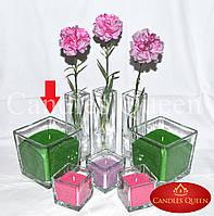 Ваза квадратная (ваза куб) 14х14х14 см подсвечник для насыпной свечи, флористики, декора, салатник, конфетница, фото 1