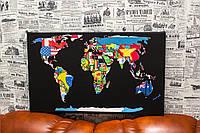 Карта мира. Флаги стран. 60х40 см. Картина на холсте.