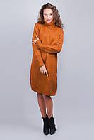 Теплое вязаное платье под горло с разрезами по бокам. Цвет терракотовый. АРТ- 355K003.5